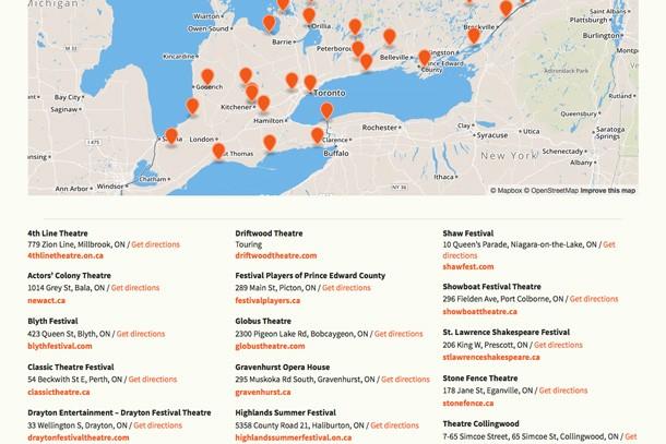 Ontario Summer Theatre map