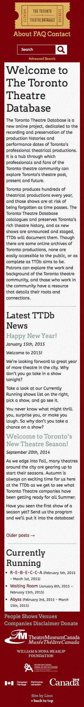 Toronto Theatre Database mobile