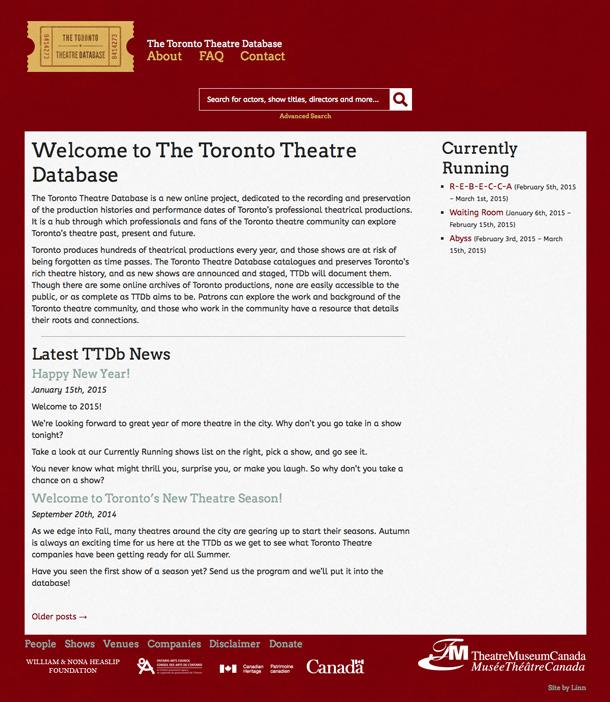 Toronto Theatre Database