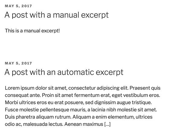 Default excerpts