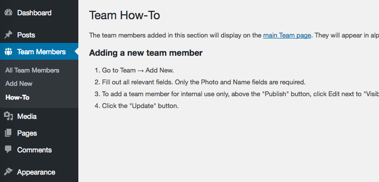 How-to page in the admin menu