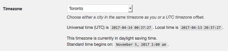 Timezone setting